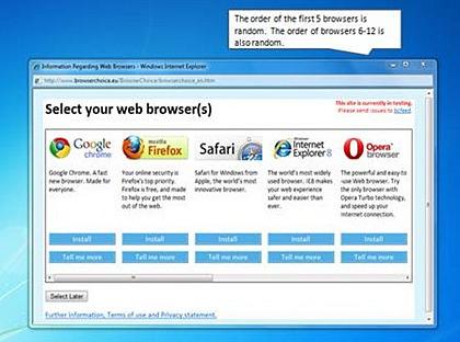 Новый экран выбора браузера по умолчанию