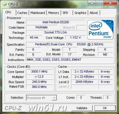 CPU-Z  1.55: информация об аппаратном обеспечении компьютера