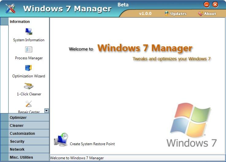 Настройщики: Windows 7Manager